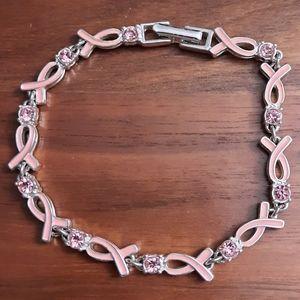 🍒 Vintage Avon Silver tone Bracelet Rhinestone